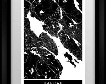 Halifax - Nova Scotia - Canada - City Minimalist Map Art Print - Black and White - Poster