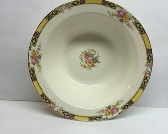 Edwin M. Knowles China 9 inch Vegetable bowl Made in USA 41-3 Yellow Band With Purple and Black Pink Roses