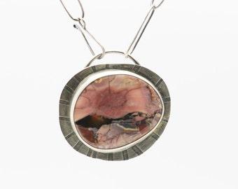 Butterfly Jasper, Gemstone Pendant, Designer Gemstone, Sterling Necklace, Statement Necklace, Handmade Chain