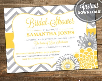 Chevron Bridal Shower Invitation / Wedding Shower / Yellow and Gray Flowers / Printable File INSTANT DOWNLOAD