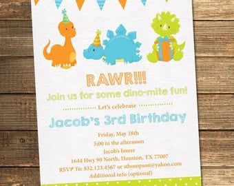 Dinosaur Birthday Invitation, Boy Birthday, Third Birthday, First, Fifth, Second, Fourth, Green, Blue, Orange, Dinosaurs, Printable File