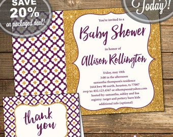Baby Shower Package, Invitation, Thank You Card, Baby Girl, Purple, Gold Glitter, Flowers, Geometric, Printable File (INSTANT Download)