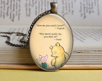 Silver or bronze Winnie The Pooh & Piglet 'Spell love' friendship oval glass dome pendant necklace
