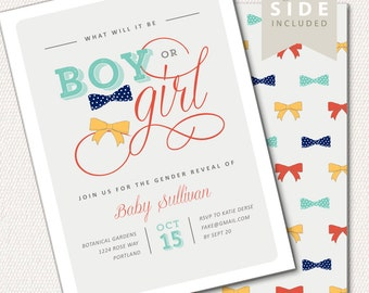 Gender Reveal Invitation, Bow Ties or Bows Invitation, Baby Boy or Girl Announcement Party, Gender Reveal Printable - Baby Reveal Invitation