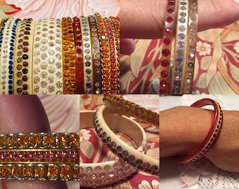 Celluloid Bangles with Rhinestones 10 available Various prices sold separately Group discount available