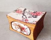 Jewelry box, jewelry storage, OOAK Jewelry storage keepsake drawer, wooden box, white, oriental, white golden wax