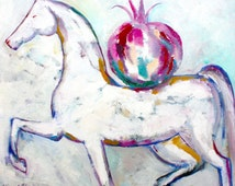 Original white horse bright colours oil on canvas painting