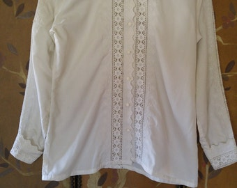 80s Saks Fifth Avenue white broderie Anglaise blouse