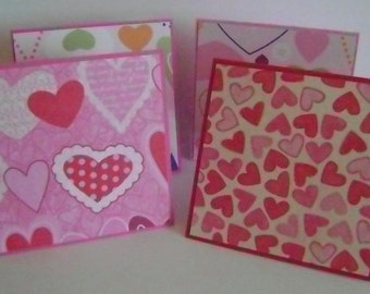 Mixed Set of 4 Valentine gift enclosure cards