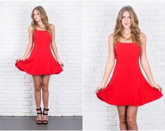 Vintage 80s Red Retro Dress 100% Silk Mini Party Small S 5857