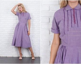 Vintage 50s 60s Purple Dress Pleated Geometric Cutout Shirtdress Full Small S 5976