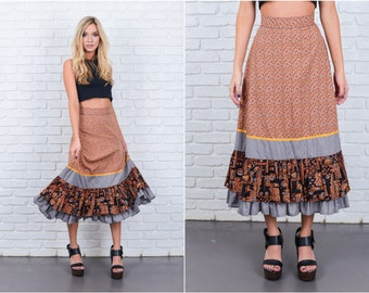 Vintage 60s 70s Brown Mod Skirt Gray Color Block Tiered Floral High Waist Small 6673 vintage skirt brown skirt mod skirt tiered skirt