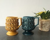 1970s Secla Portugal Goblet Style Ceramic Mugs - Set of Two