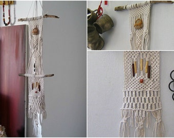 Rustic Macrame Wall Hanging, Long Driftwood Weaving Art, Off White Cotton Beaded Macrame Weaving,  Bohemian Home Decor Fringe Wall Tapestry
