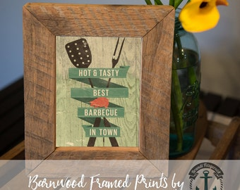 Best Barbecue in Town - Framed Print in Reclaimed Barnwood Bar and Kitchen Style - Handmade Ready to Hang | Size & Price via Dropdown