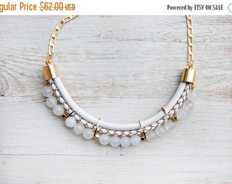 SPRING SALE Meteorites Statement White colors Jade Necklace by Pardes