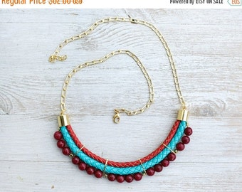 SPRING SALE Meteorites Statement Turquoise & Red colors Agate Necklace by Pardes