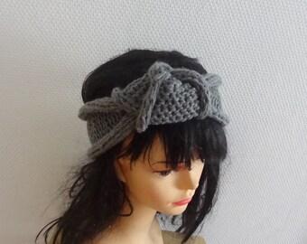 Turban headband  gray winter turban knit headband, WOMens headband Chunky top knot Headband , Ear warmer Turban Top knot womens headband