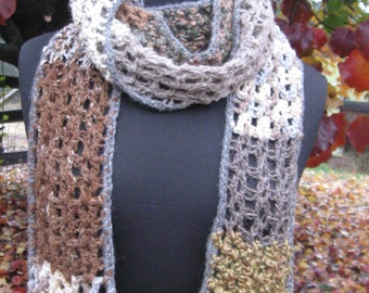 Brown and Gray Woodland Alpaca & Wool Scarf with Ruffle Edging