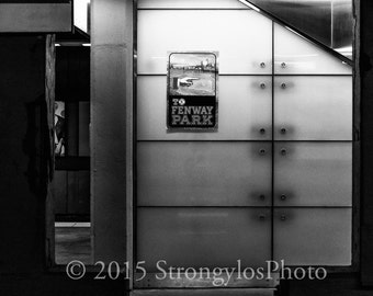 Fenway Park, Black and White Photography, Subway sign, Boston Red Sox, baseball, man cave