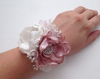 Wrist Corsage - Fabric Flowers, Mother of the Bride, Mother of the Groom, Alternative Wedding Flowers, Fabric Bouquet, Fabric Flower Corsage