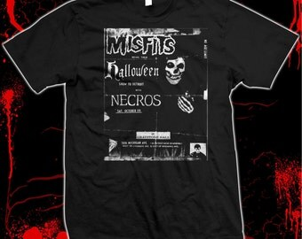Misfits, Necros, Danzig Halloween Punk Flyer - hand silk-screened, pre-shrunk 100% cotton t-shirt
