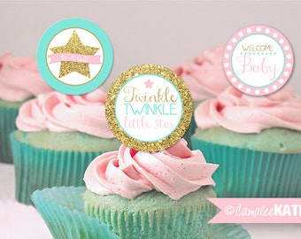 Twinkle Little Star Baby Shower - Gold Glitter Stars / Pink & Mint Blue / Printable 2 inch Favor Tags, Cupcake Toppers / INSTANT DOWNLOAD