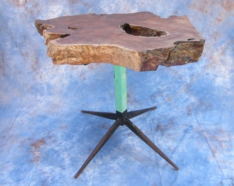 Upcycled Modern Live Edge Table, Unique Walnut Burl Mid Century Wooden Table Home Decoration, One of a Kind Small Side Tables, New Home