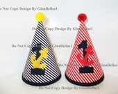 Nautical Birthday Hat Mickey Mouse HAT or anchor cake smash beach boat sailor sell is for 1 (one) boy POM POM hat brother 9 12 18 24 toddler