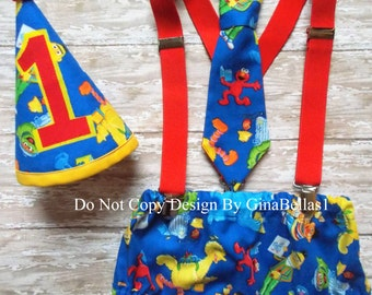 Elmo Birthday cake smash outfit Sesame street suspenders baby boy hat diaper cover bow I am One tie big bird Burt Ernie 12 18 24 m toddler