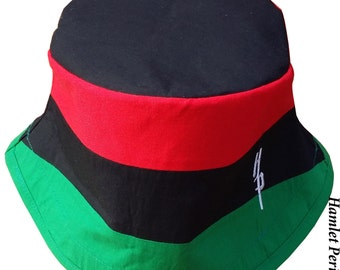 Pan-African Flag Blacktop Bucket Hat | Pan-African Hat | Pan-Africanism | African Hat | Red, Black, Green Hat by Hamlet Pericles | HP122815