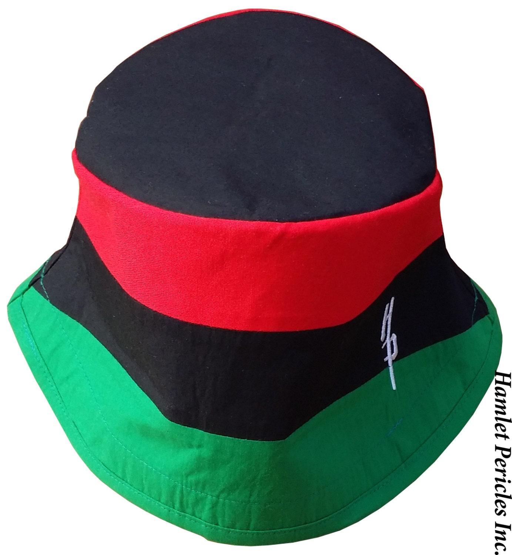 pan african flag blacktop bucket hat pan african hat