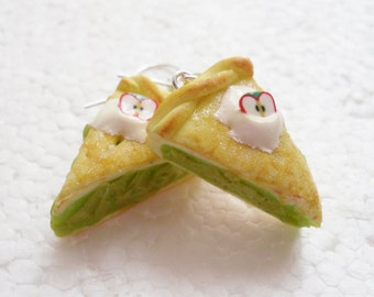 Apple Pie Earrings. Polymer Clay.