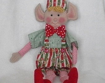 Christmas Elf Stripes and Polka Dots Whimsical Elf Doll Holiday Decoration