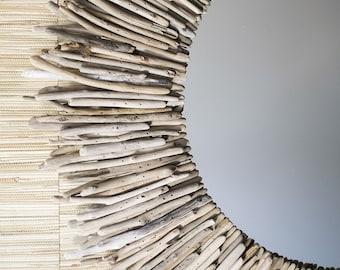 """36"""" Round Driftwood Mirror"""