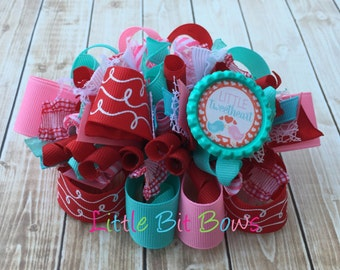 Little Tweetheart Valentine Funky Bow with Bottle Cap Embelishemnt- Red, Pink and Aqua