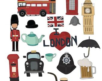 Set of 16 British Travel Hand Drawn Digital Clipart Images VG-015 Printable Vectors Graphics England London United kingdom UK Royal Big Ben