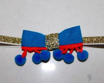 Bow headband with gold, electric blue and neon orange ribbon
