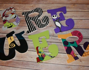 Nightmare Before Christmas Inspired Hand Painted Letters ***MESSAGE BEFORE ORDERING***