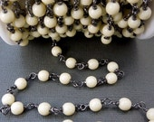 35% off Wholesale Wire-Wrapped Bone Beaded Chain-- Rosary Style Black Polish over Sterling Silver Chain-- PER FOOT (Chn-14)