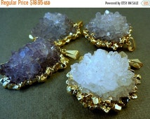 15% off Christmas in July Amethyst Flower Cluster Pendant with 24k gold electroplated edging-- Amethyst Cluster Pendant