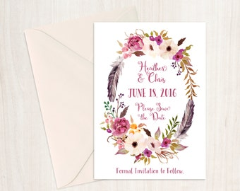 Save the Date - 5 x 7 - Personalized - Tribal Romance - I Create and You Print