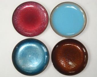 Jade Snow Wong Set 4 Coasters - Mid Century Modern Enamel on Copper Trinket Dishes