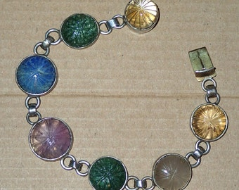 Citrine Amethyst Jade Lapis Link Bracelet in Sterling. Natural Gemstones
