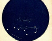 1920s THE PLOUGH STAR Chart Dark Blue Colored Vintage Stars antique Celestial Maps, Constellations Planets Zodiac