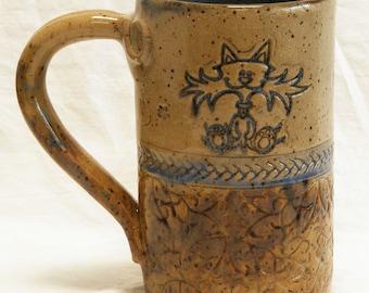 ceramic crazy cat coffee mug 16oz stoneware 16A087