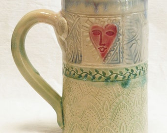 Stoneware 16oz ceramic heart mug 16A094
