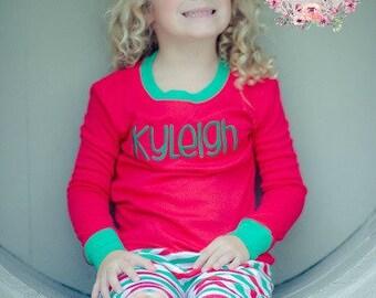 Christmas Pajamas - Monogrammed Holiday Outfit - Pajama Monogram - Christmas outfit - Girl's pajamas