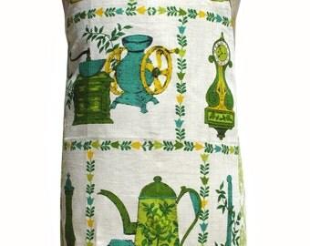 Metro Retro MASTER CHEF KITCHEN Green Vintage Tea Towel Handmade Apron.  Mother's Day Birthday .  Gift Idea Upcycled