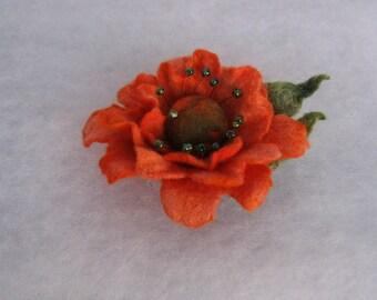 Flowers Brooch -  Felted Flower- Hand felted brooch - Wool brooch-Orange flower brooch